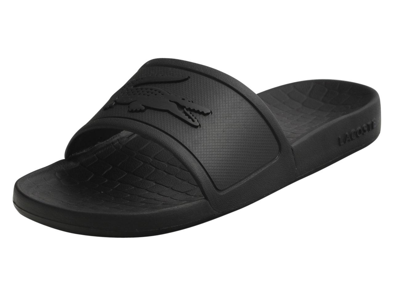 3bf75613472e Lacoste Men s Frasier Black Textured Black Slides Sandals Shoes