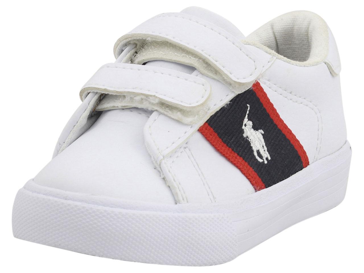 acbef1bc424b5 Polo Ralph Lauren Toddler Boy's Geoff-EZ White/Navy/Red Sneakers ...