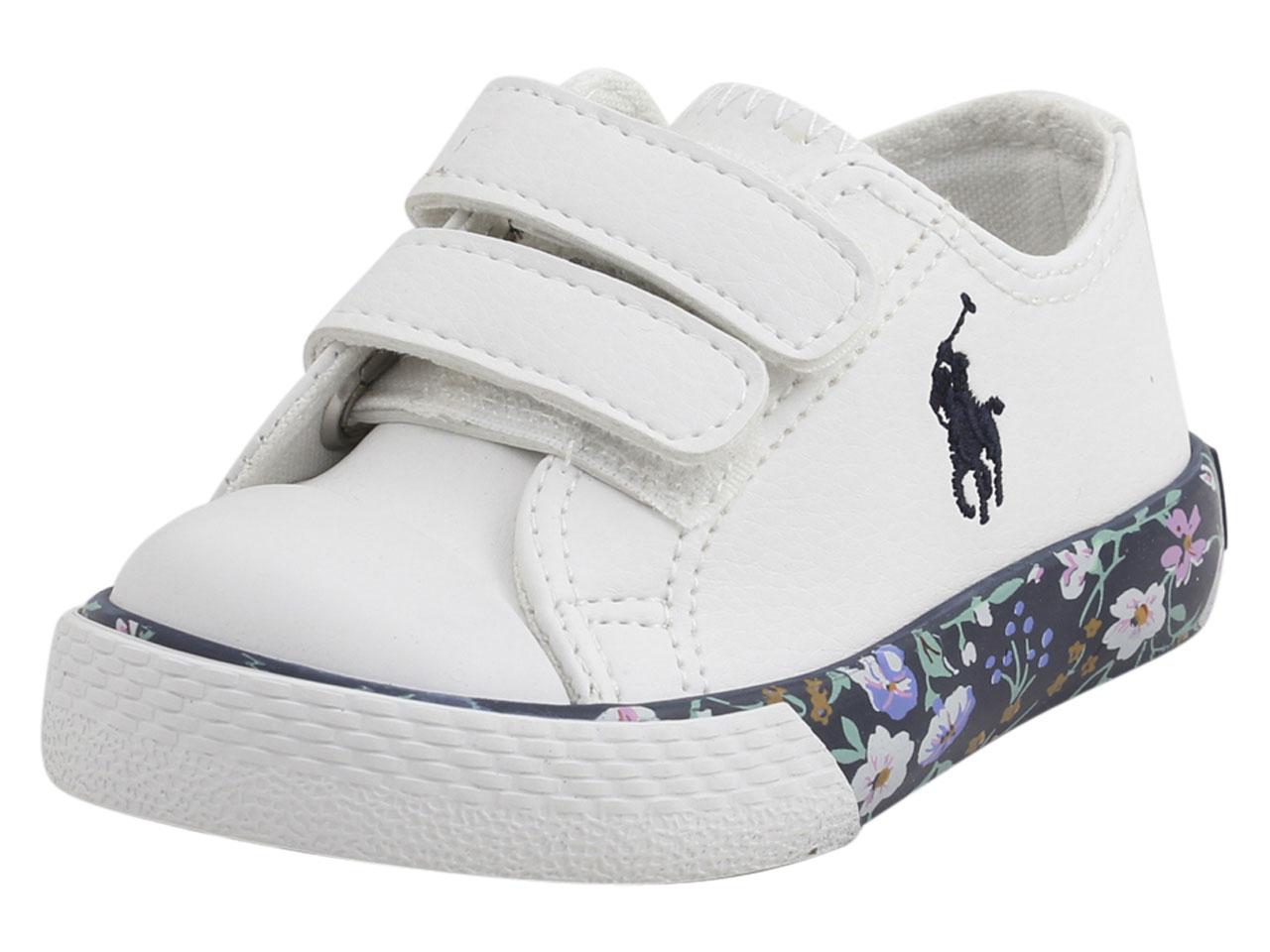 4fffafaa471 Polo Ralph Lauren Toddler Girl s Slone-EZ White Floral Sneakers ...