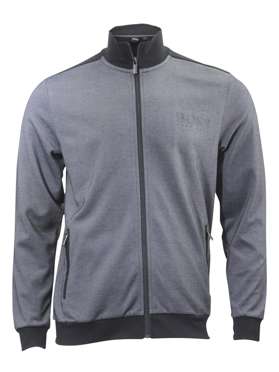 Hugo Boss Men's Bicolored Black Pique Tracksuit Jacket Sz: S