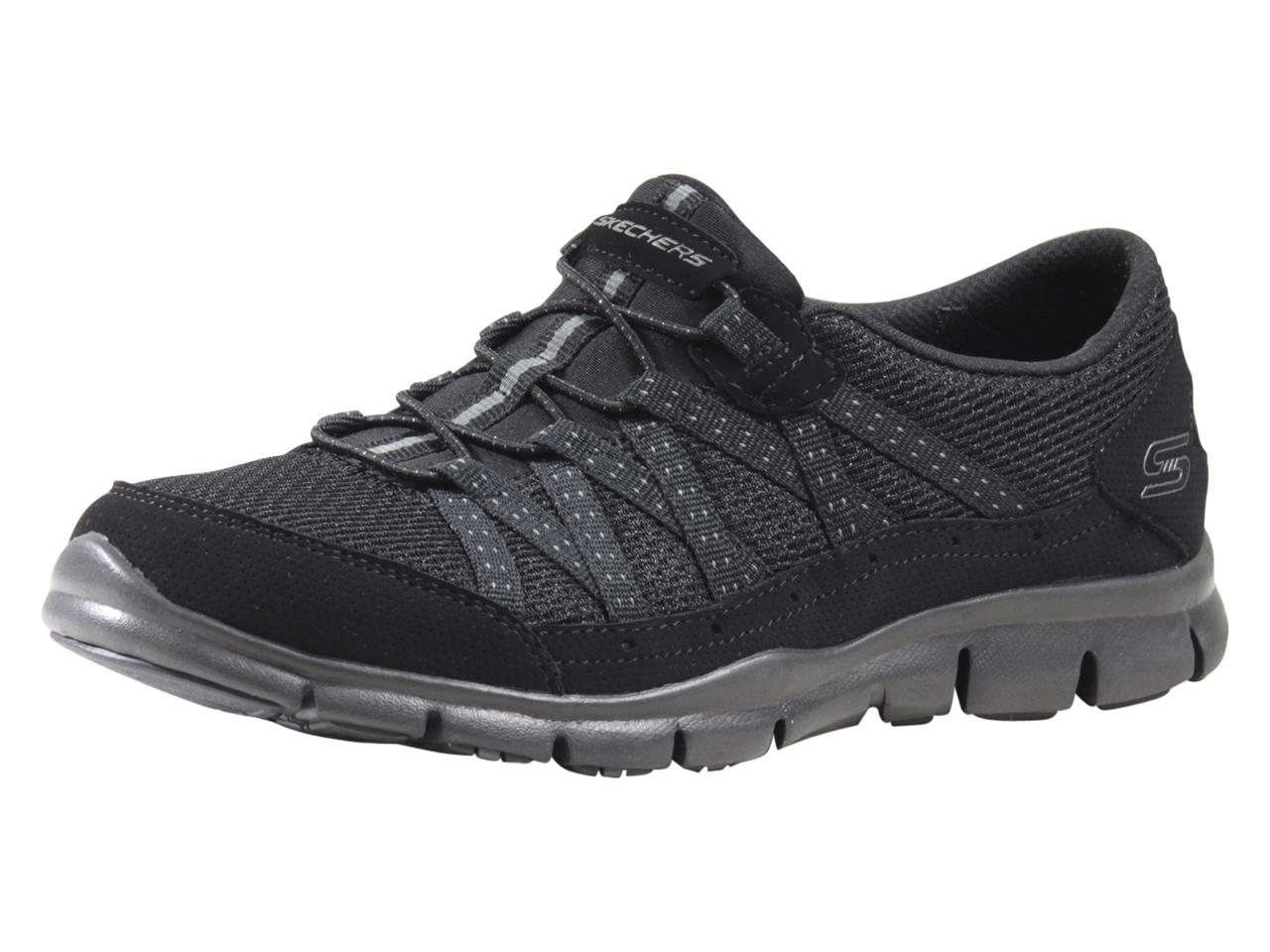 Details about Skechers Flex Women's Gratis Strolling Black Memory Foam Sneakers Shoes