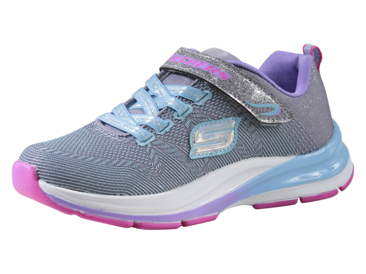Details about Skechers LittleBig Girl's Double Strides Duo Dash GrayBlue Sneakers Shoes