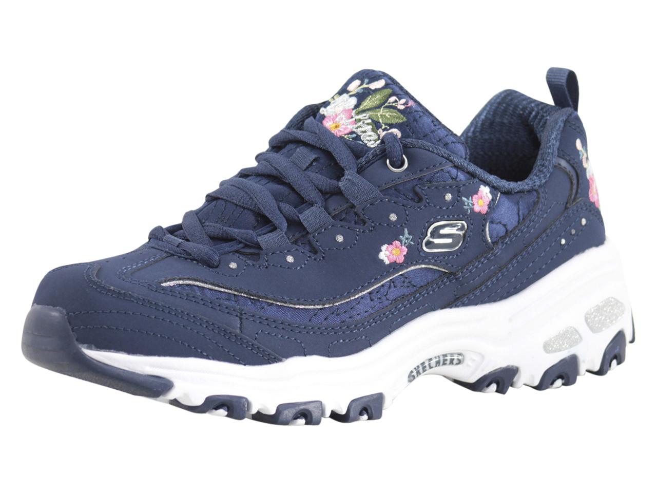 6ba1589595e Details about Skechers Women's D'Lites Bright Blossoms Navy Memory Foam  Sneakers Shoes