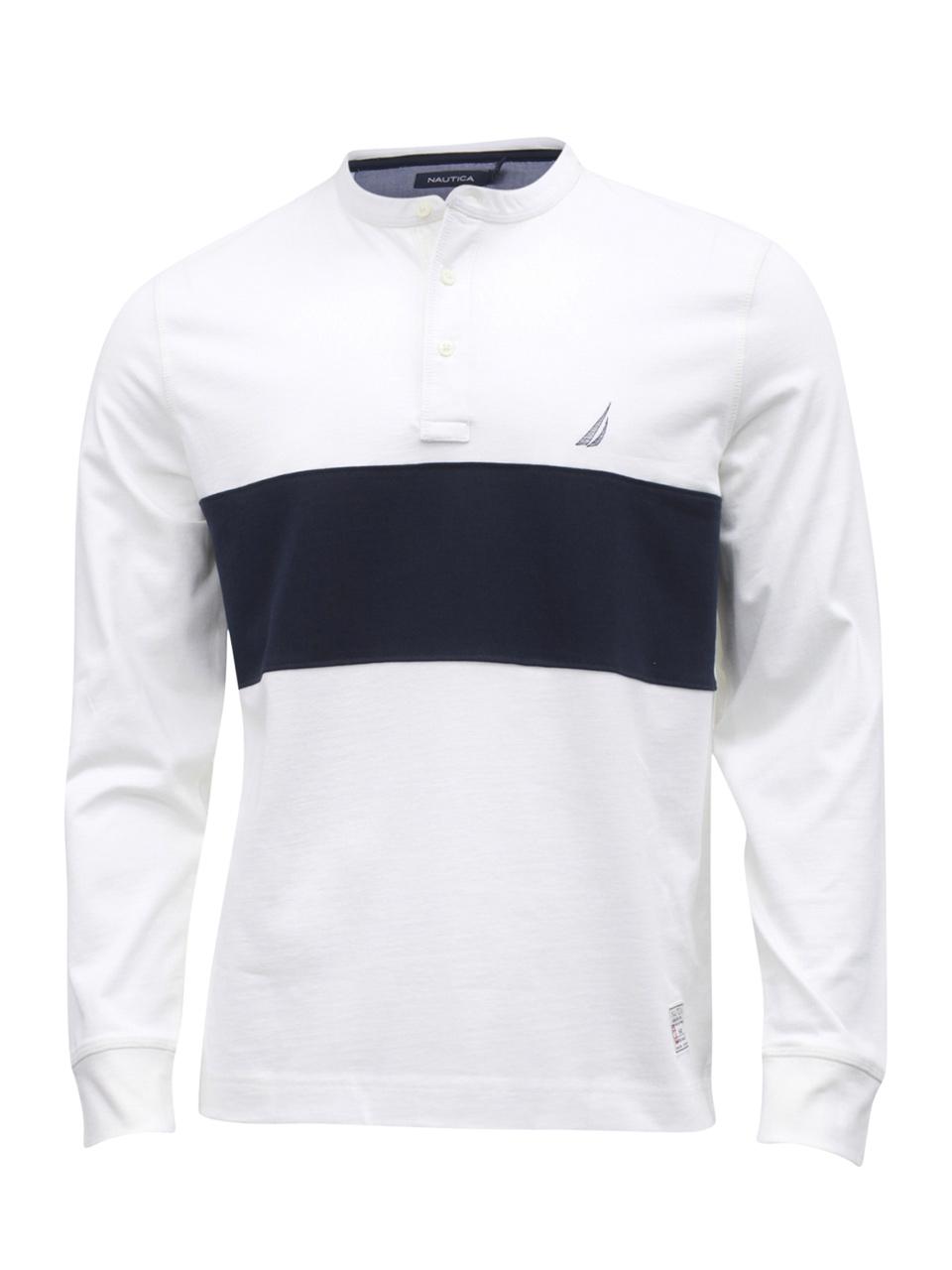 Nautica Men/'s Colorblock Long Sleeve Cotton Henley Shirt