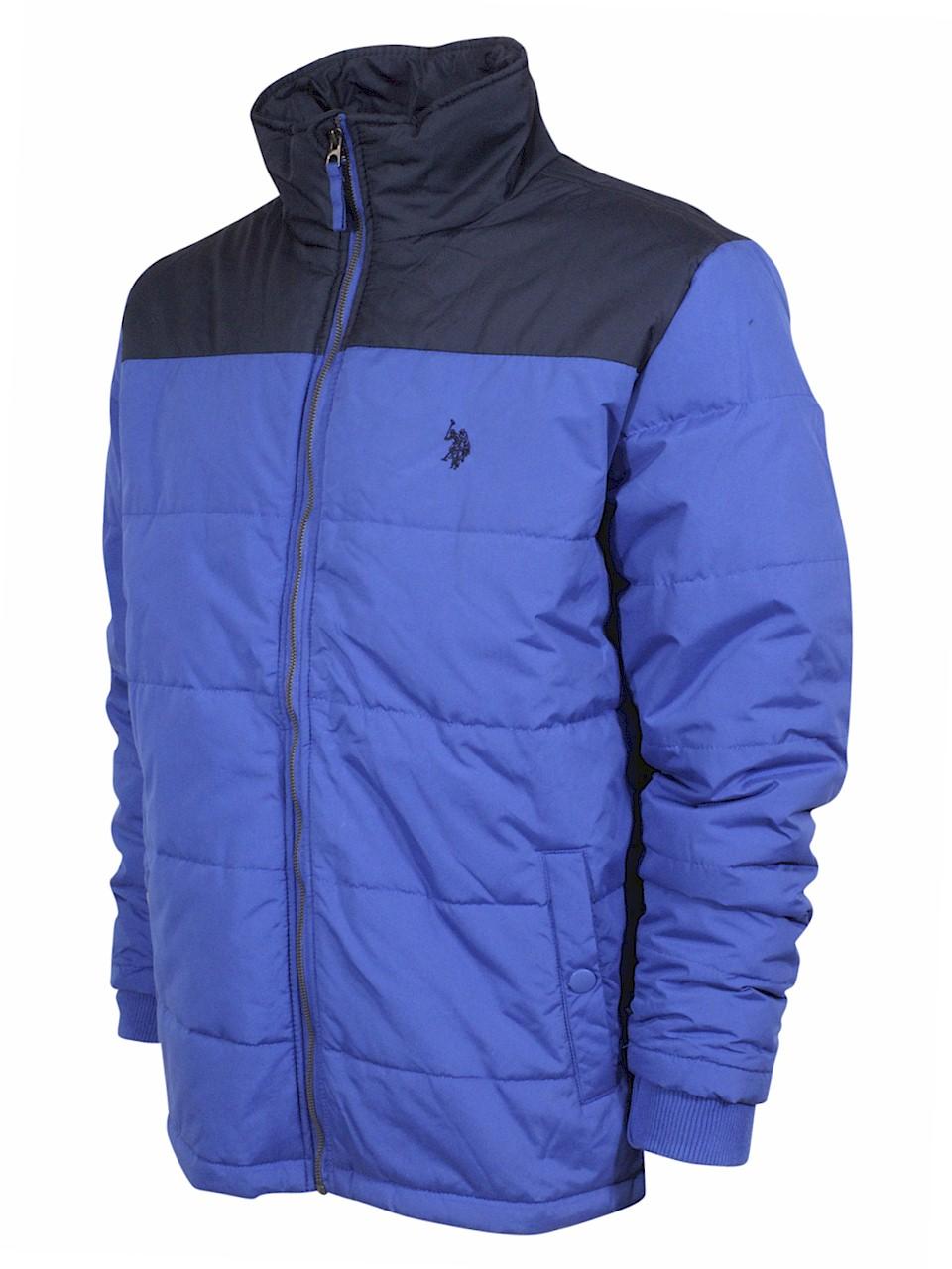 U.S Polo Association Men/'s Colorblock Zip Front Hooded Sweatshirt