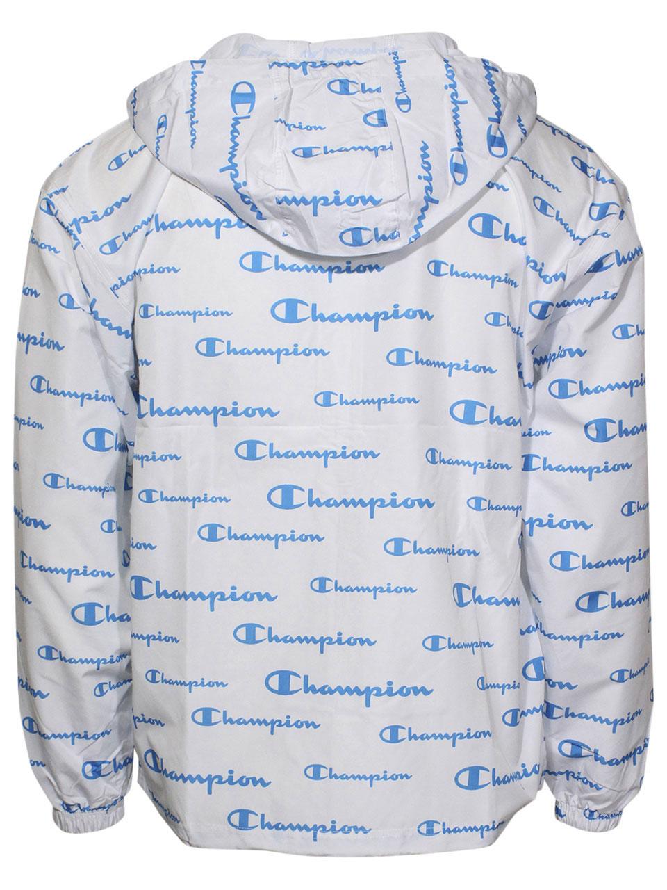 Champion-All-Over-Logo-Jacket-Men-039-s-Packable-Hooded-Half-Zip thumbnail 9