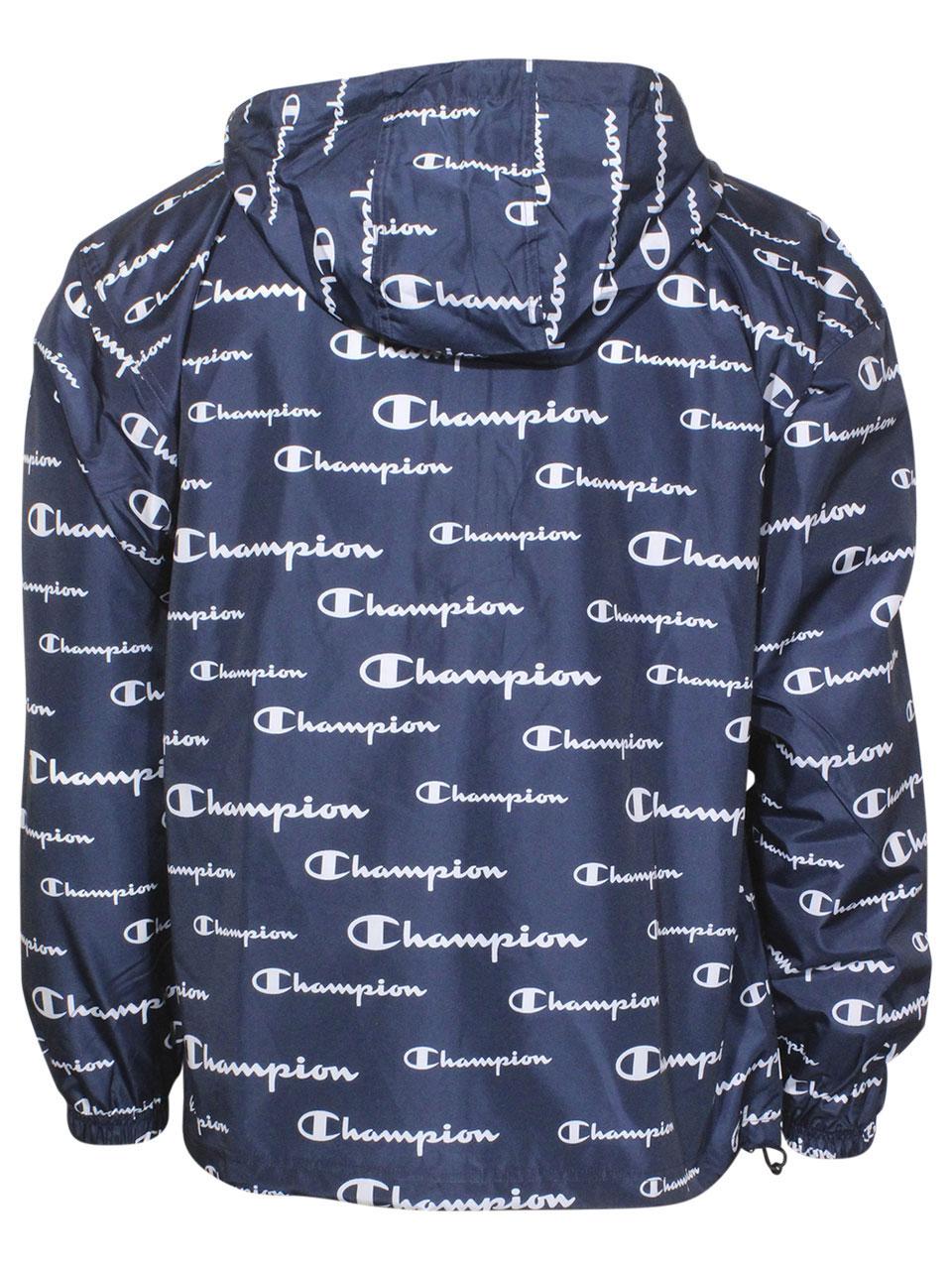 Champion-All-Over-Logo-Jacket-Men-039-s-Packable-Hooded-Half-Zip thumbnail 6