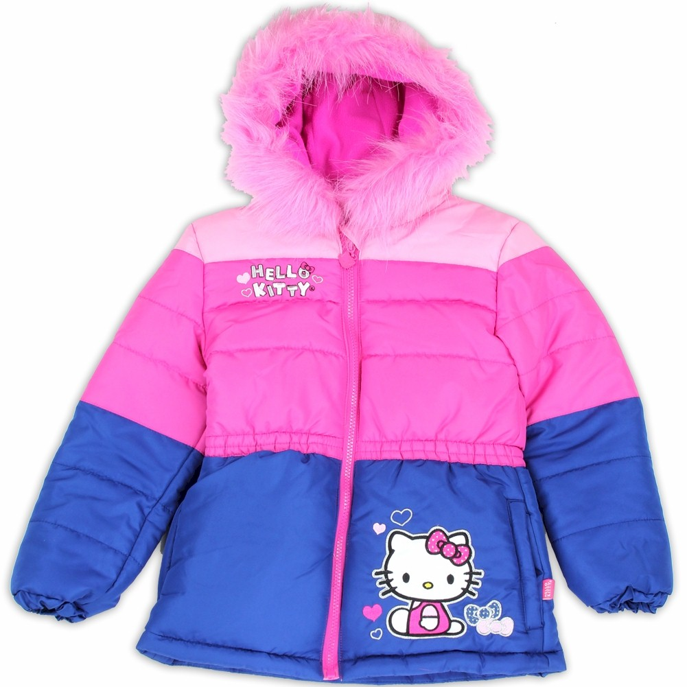 847d74e16 Hello Kitty Toddler Girls Pink Fur Like Lined Puffer Hooded Winter ...