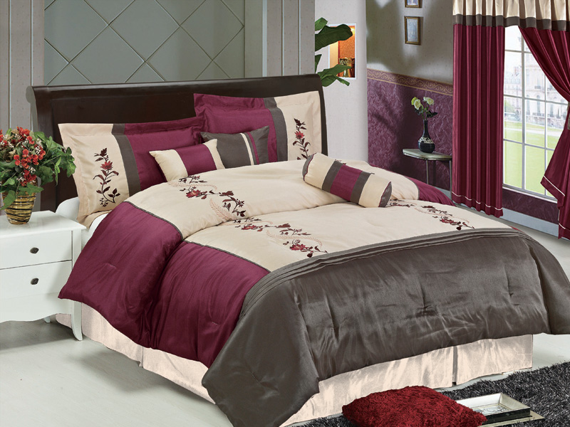 7Pcs Queen Burgundy And Brown Floral Comforter Set