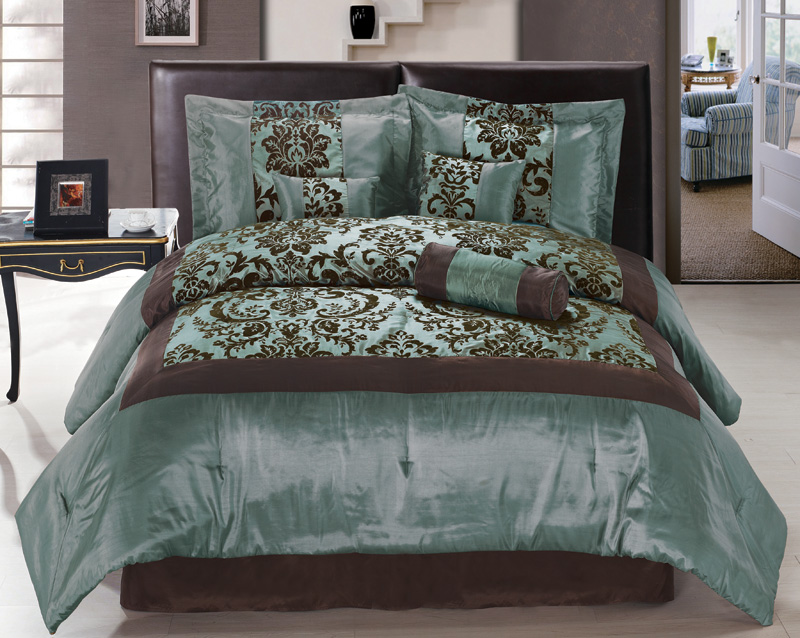how to choose color for bedroom 11 king aqua and coffee flocked bed in a bag bedding 20559