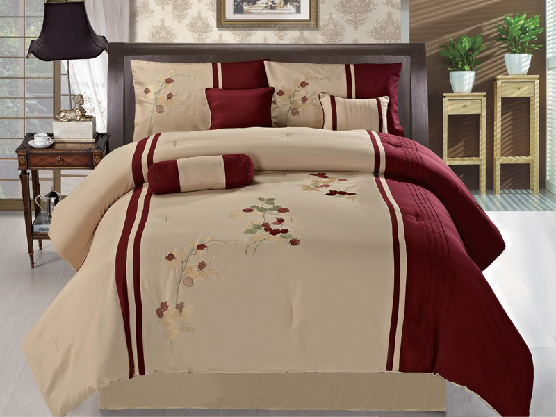 7Pcs Queen Burgundy And Tan Floral Embroidered Comforter