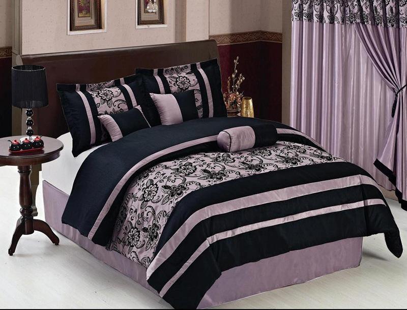 7 Piece Queen Purple And Black Floral Comforter Set