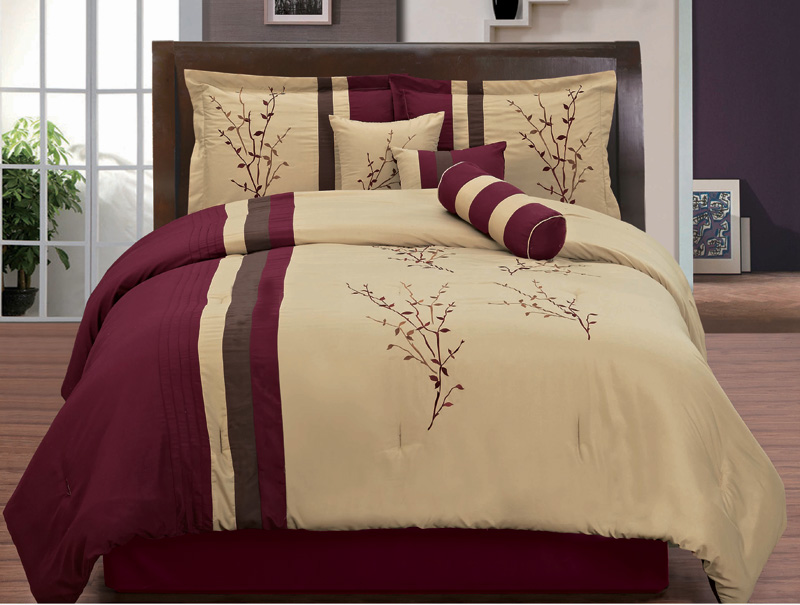 7 Piece King Burgundy And Tan Floral Embroidered Comforter