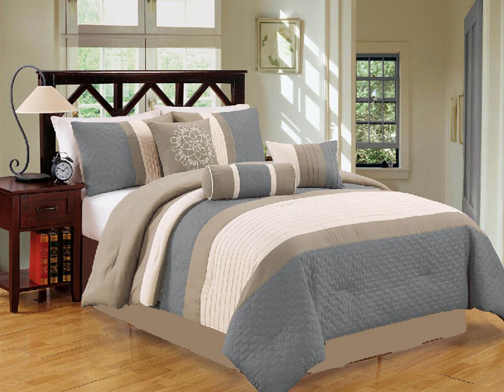 7 Piece Gray/Taupe Comforter Set