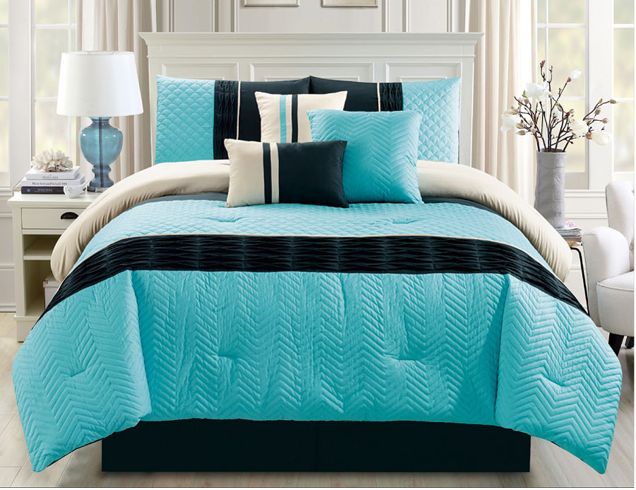11 piece chevron quilted pleat yellow gray bed in a bag set ebay. Black Bedroom Furniture Sets. Home Design Ideas