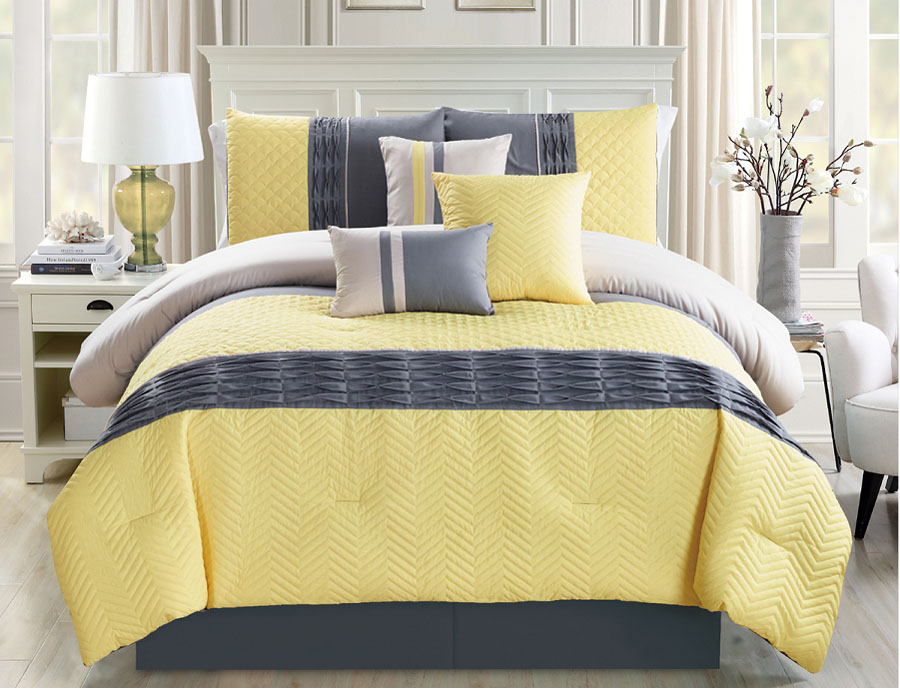 7 Piece Chevron Quilted Pleat Yellow/Gray Comforter Set
