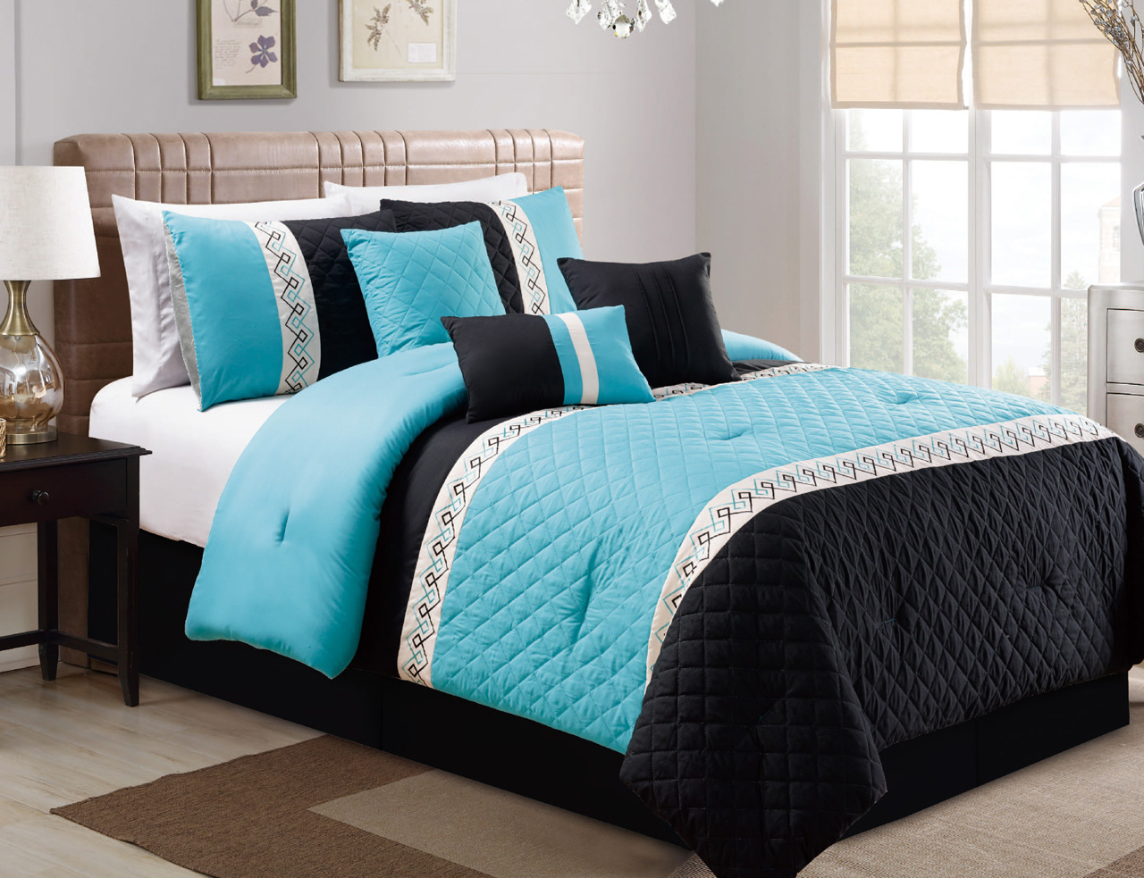 7 Piece Quilted Lattice Pink/Black/Ivory Comforter Set