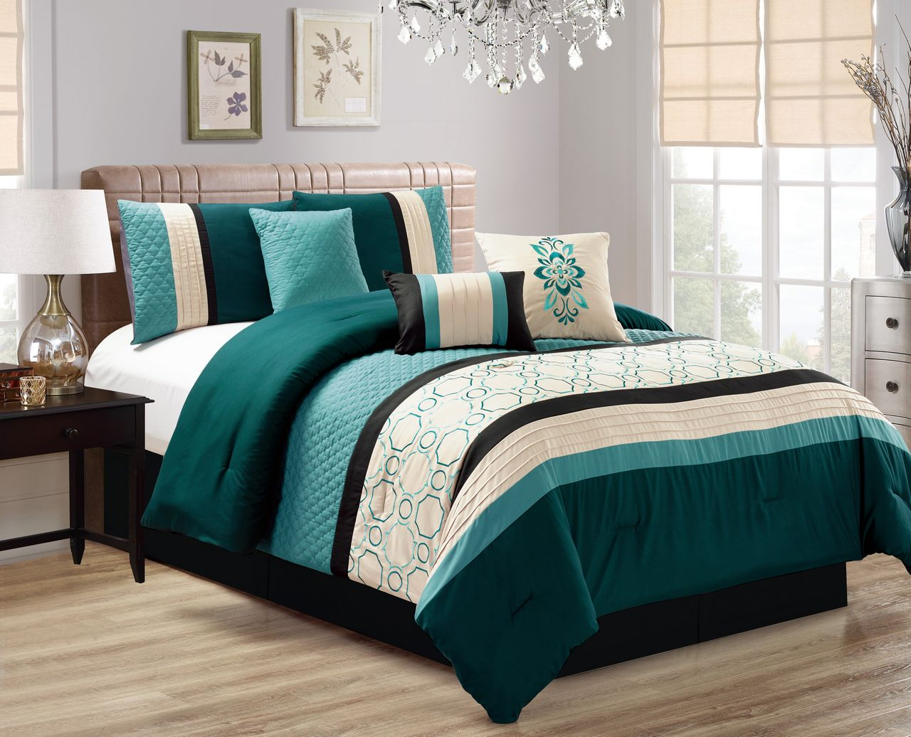7 Piece Quilted Geometric Embroidered Teal Ivory Black