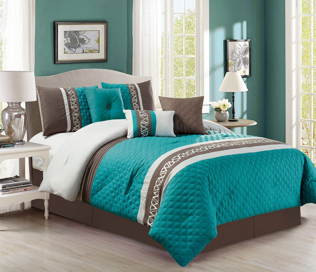 7 Piece Diamond Quilted Teal Chocolate Comforter Set Ebay