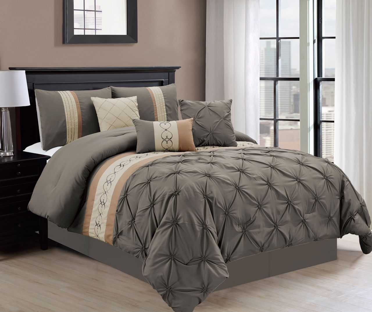 pinched today kotter comforter microfiber overstock set pleat polyester pinch free product bath home bedding and shipping