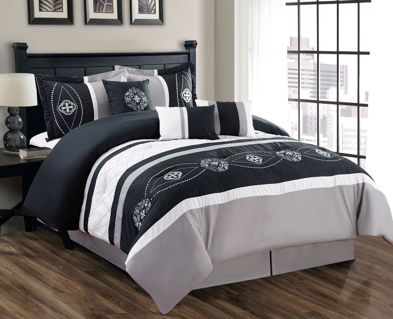 7 Piece Floral Embroidered Black/Gray/White Comforter Set ...