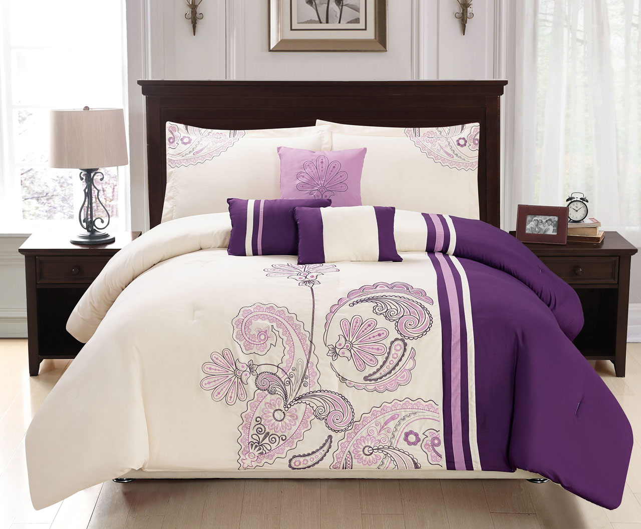 7 Piece Paisley Stripe Embroidered Comforter Set Ebay