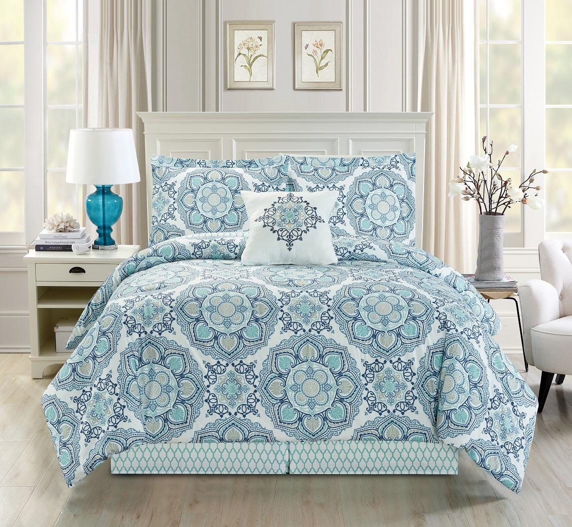 5 piece medallion floral black gray white comforter set ebay. Black Bedroom Furniture Sets. Home Design Ideas