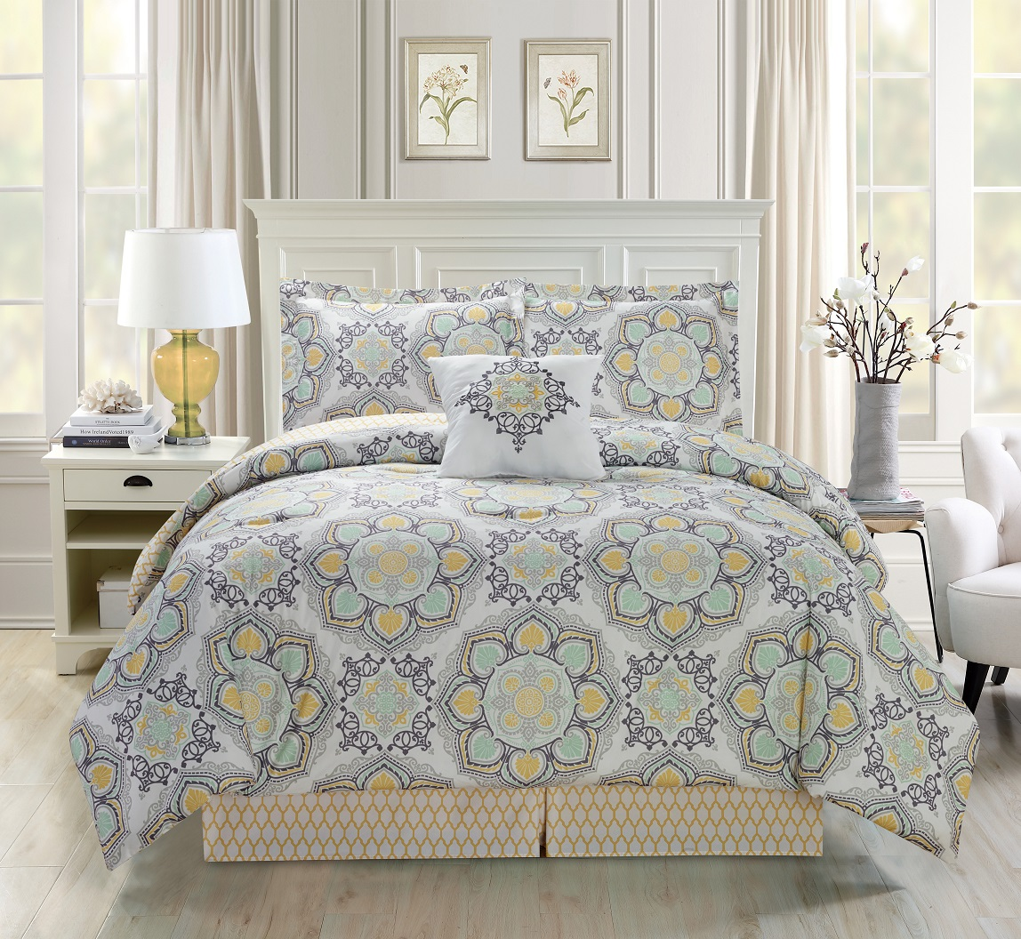 5 piece medallion floral black gray white comforter set ebay. Black Bedroom Furniture Sets. Home Design Ideas