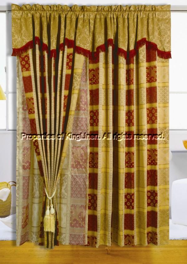 Maroon Jewel Patchwork Curtain Set W Valance Ebay