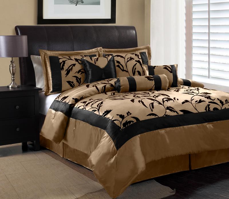 7 Piece Queen Amelia Black and Tan Flocked Comforter Set