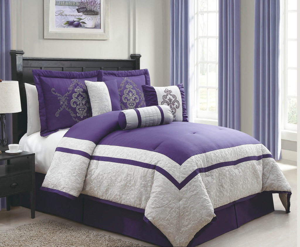 11 piece cal king dacia purple and gray bed in a bag set ebay. Black Bedroom Furniture Sets. Home Design Ideas