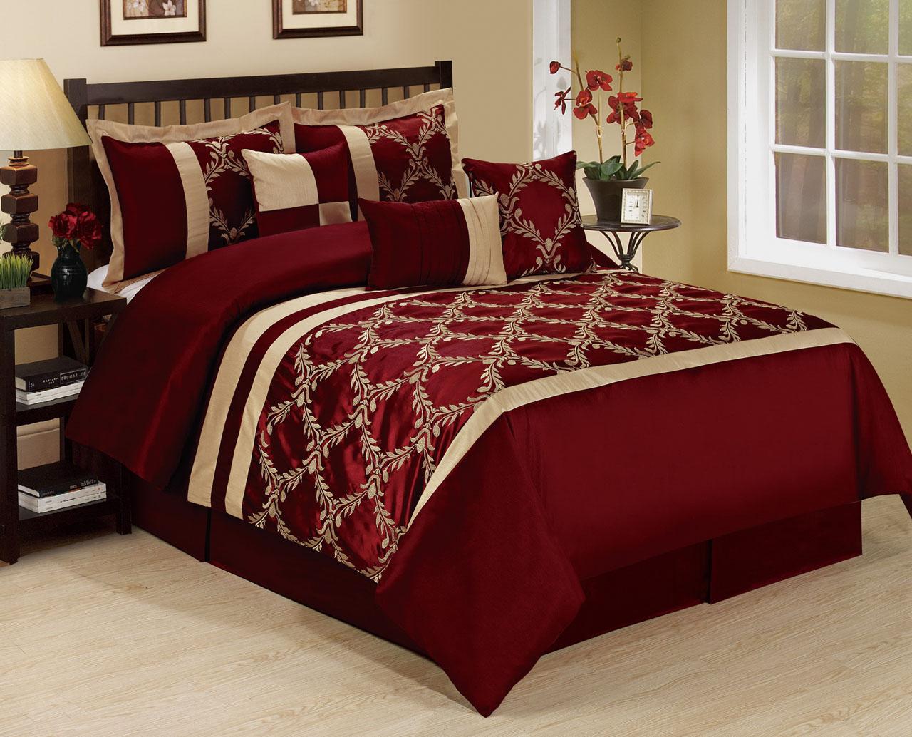 7 Piece Claremont Burgundy Taupe Comforter Set Ebay