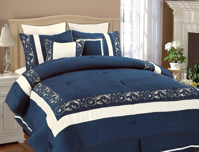 Navy Blue Queen Bedding: 8Pcs Queen Shilo Navy/White Embroidered Comforter Set