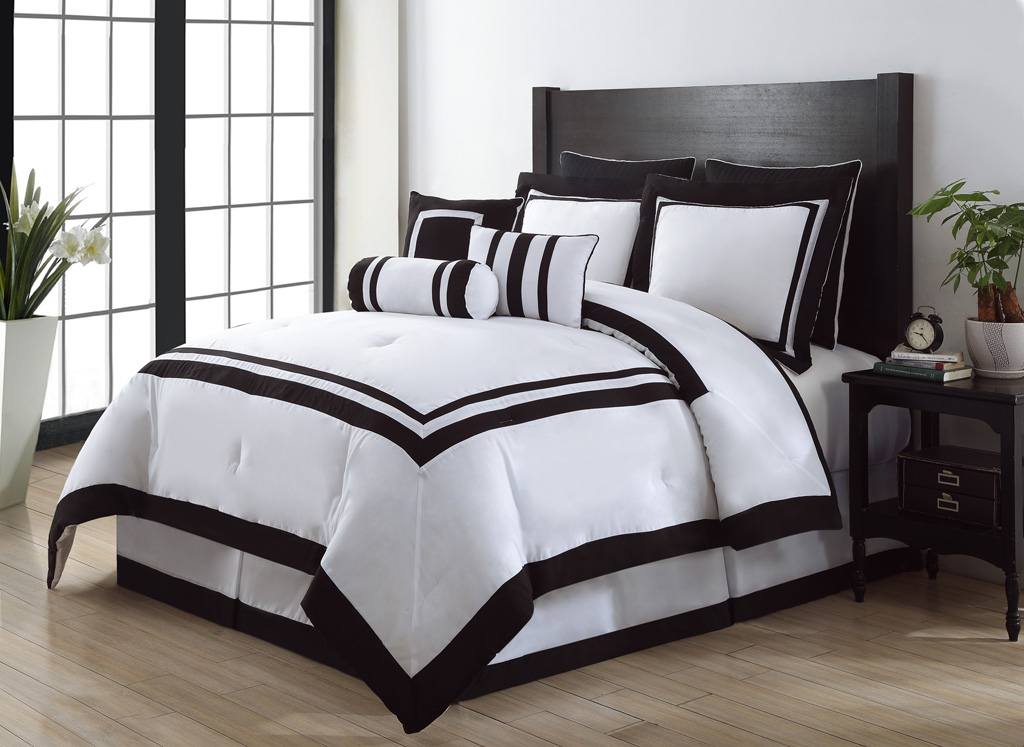9 Piece Queen Hotel Black And White Comforter Set Ebay