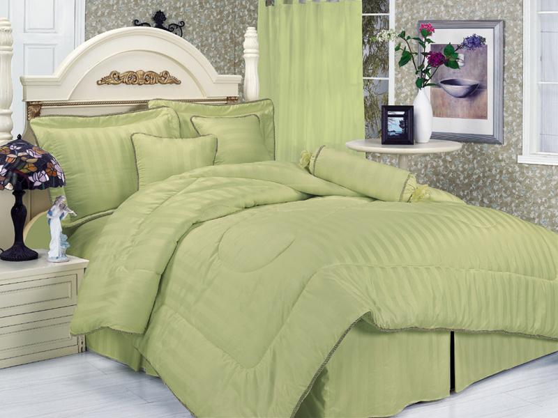 7pcs Cal King Sage Cotton Stripe Bedding Comforter Set