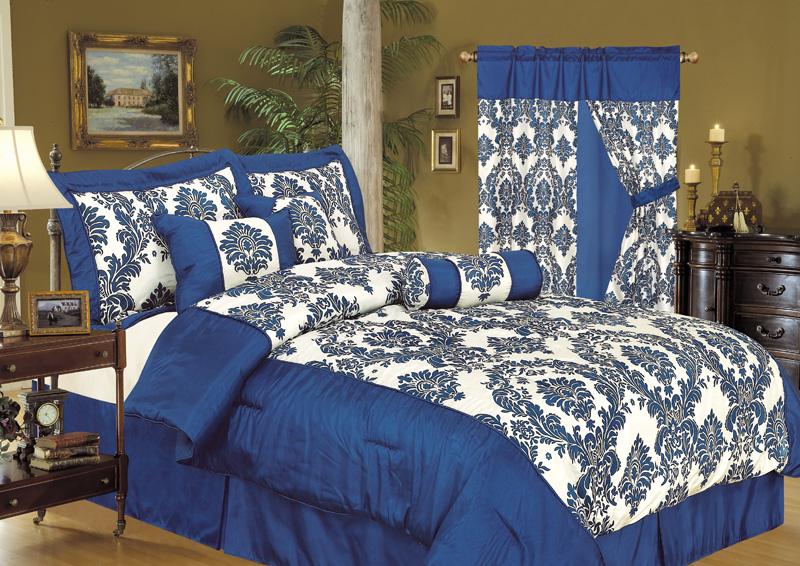 5Pcs Twin Louisa Flocking Blue Bedding Comforter Set