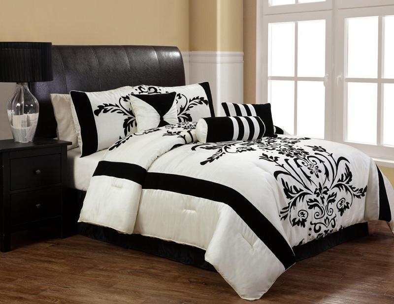 7Pcs Full Salma Black And White Flocking Comforter Set
