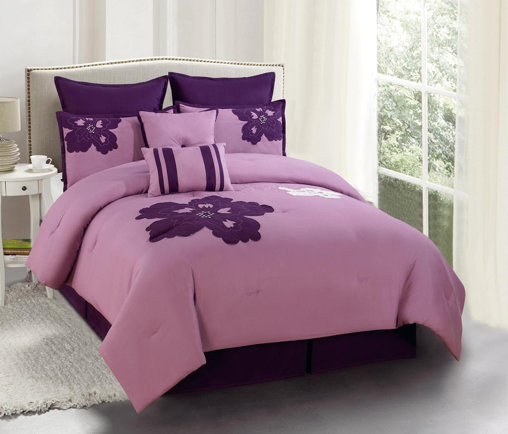 12 Piece King Medina Purple And Plum Embroidered Bed In A