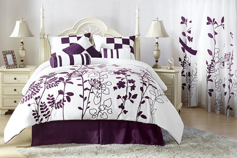 7Pcs Full Renee Purple And White Bedding Comforter Set