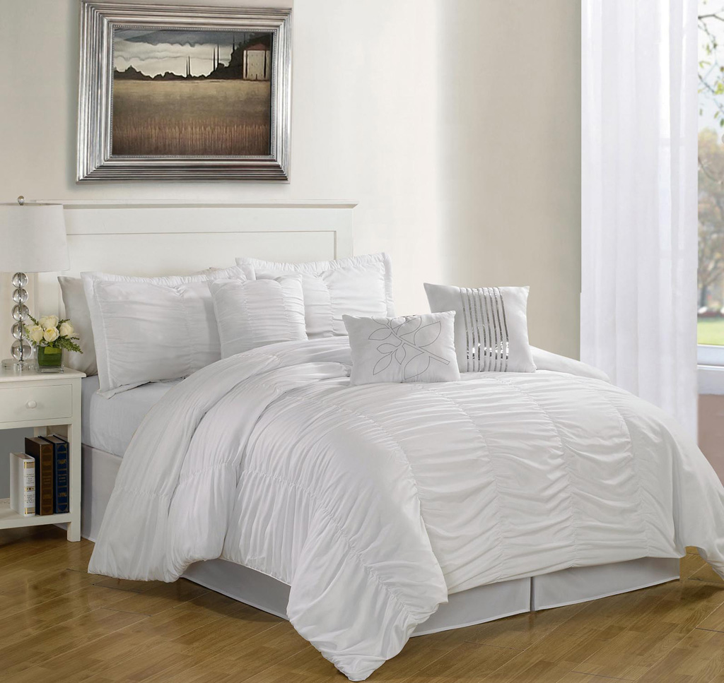 queen bed set 7 hermosa ruffled comforter set white ebay 29507