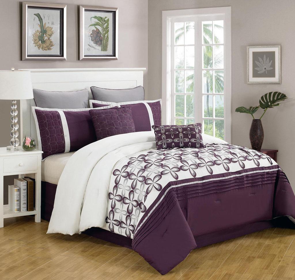 8 piece queen ellis purple and white bedding comforter set ebay. Black Bedroom Furniture Sets. Home Design Ideas
