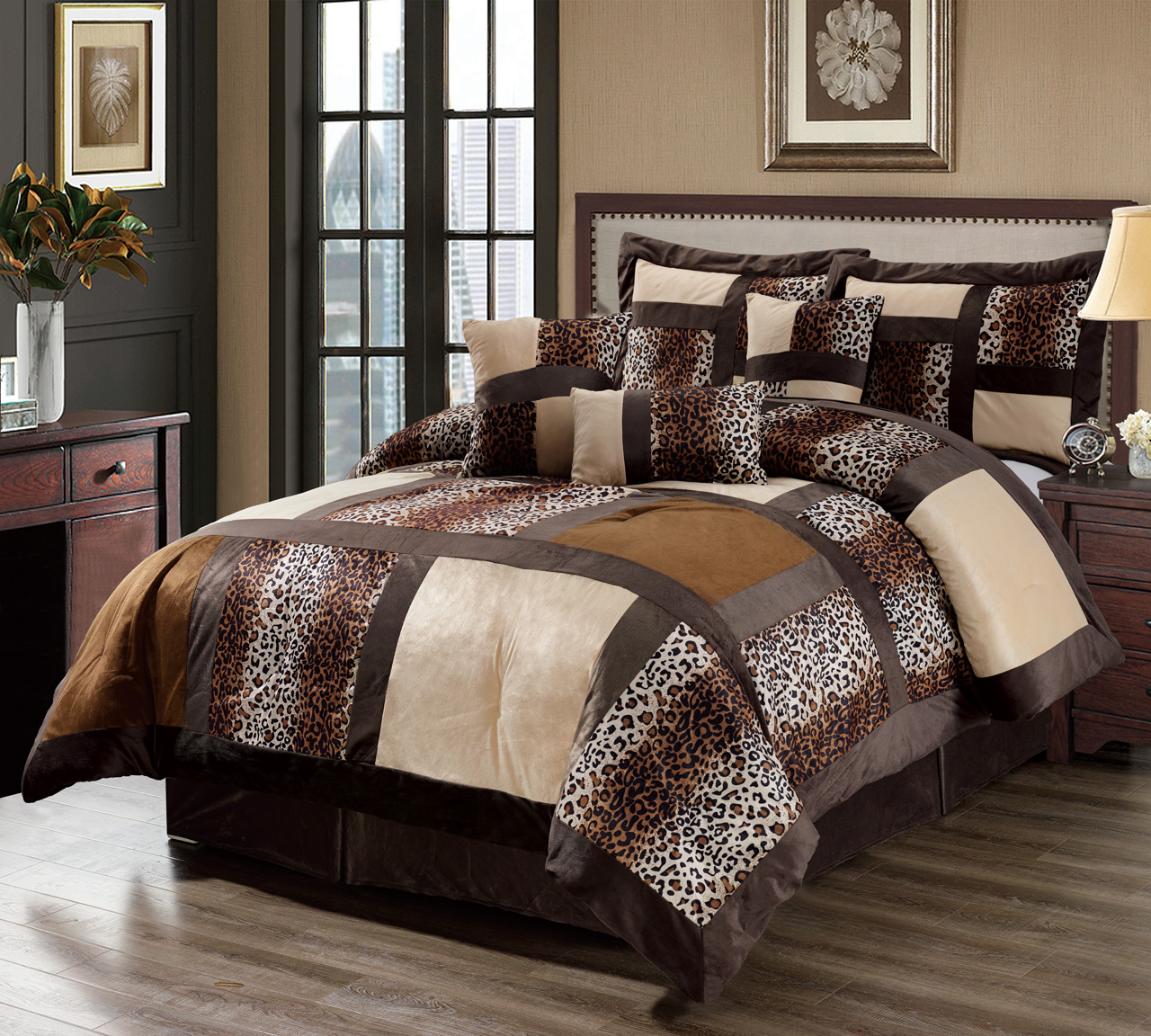 7 Piece Cal King Leopard Patchwork Micro Suede Comforter ...