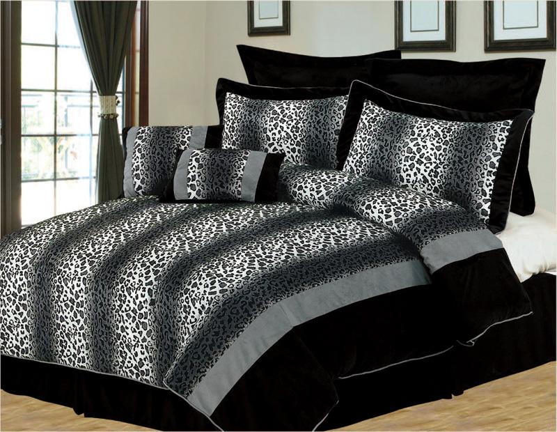 8pcs queen black and gray leopard stripe micro fur bedding comforter set ebay. Black Bedroom Furniture Sets. Home Design Ideas