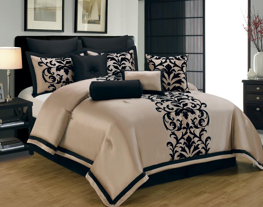 10 Piece Cal King Dawson Black And Gold Comforter Set Ebay