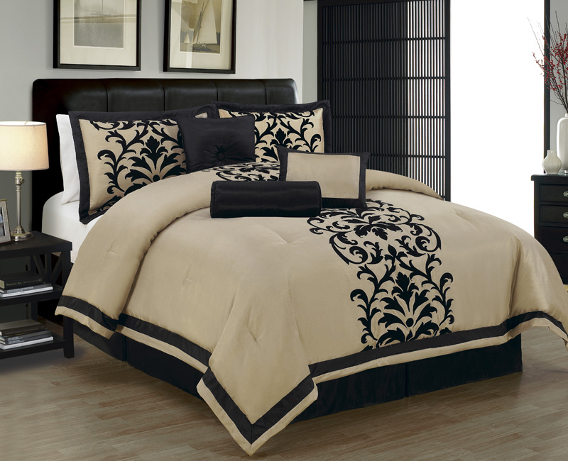 7 Piece Cal King Dawson Black And Taupe Comforter Set