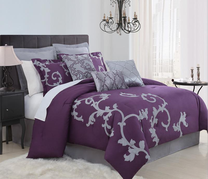 9 piece queen duchess plum and gray comforter set. Black Bedroom Furniture Sets. Home Design Ideas