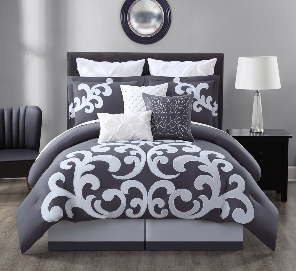 9 piece empress 100 cotton black white comforter set queen ebay. Black Bedroom Furniture Sets. Home Design Ideas