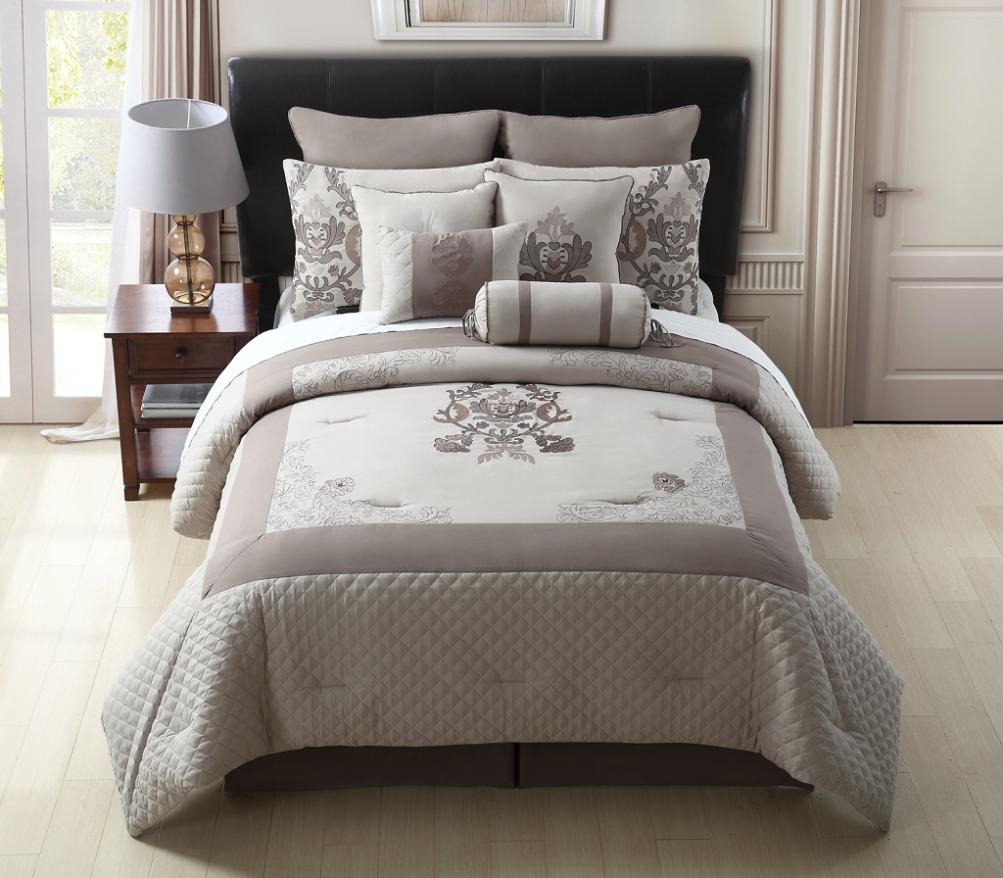 10 Piece King Felicity Taupe Comforter Set Ebay