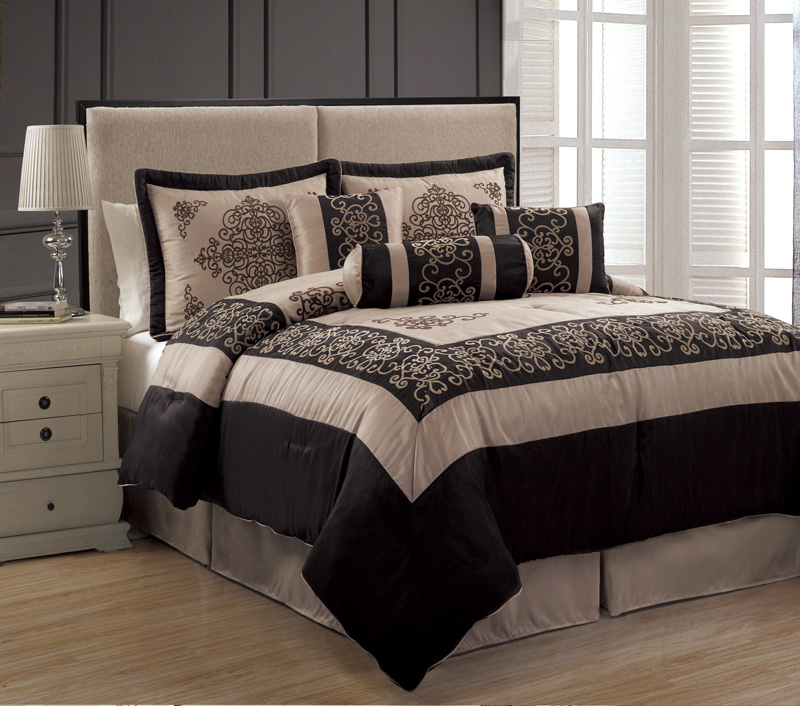 7Pcs Queen Isabella Taupe And Black Comforter Set
