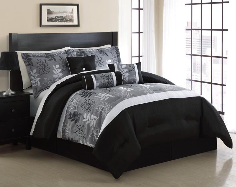 7 piece queen kellen black and gray jacquard comforter set ebay. Black Bedroom Furniture Sets. Home Design Ideas